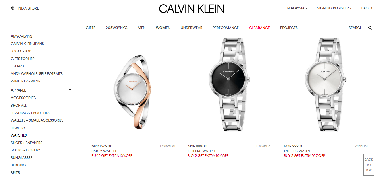 calvin klein women's watches