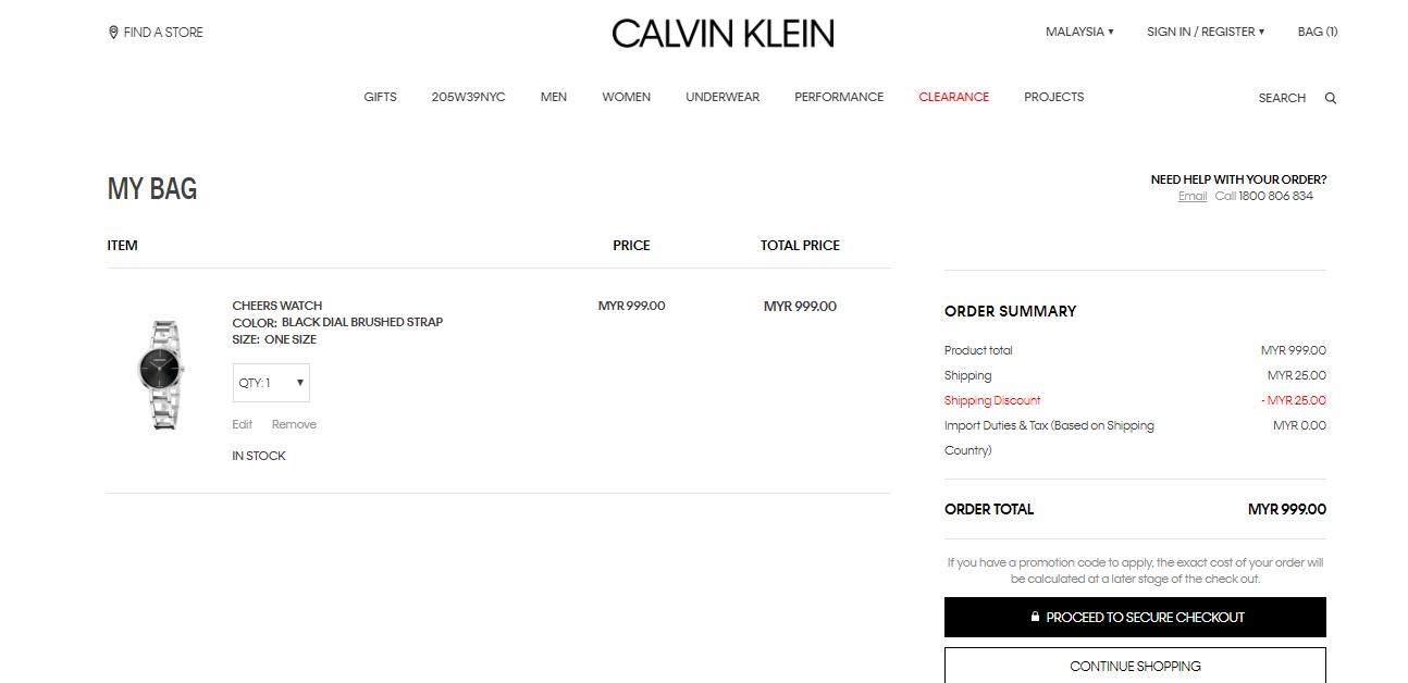 calvin klein cart