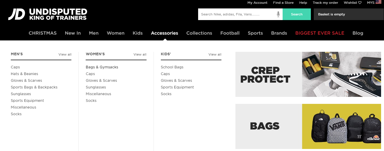 JD sports browse category