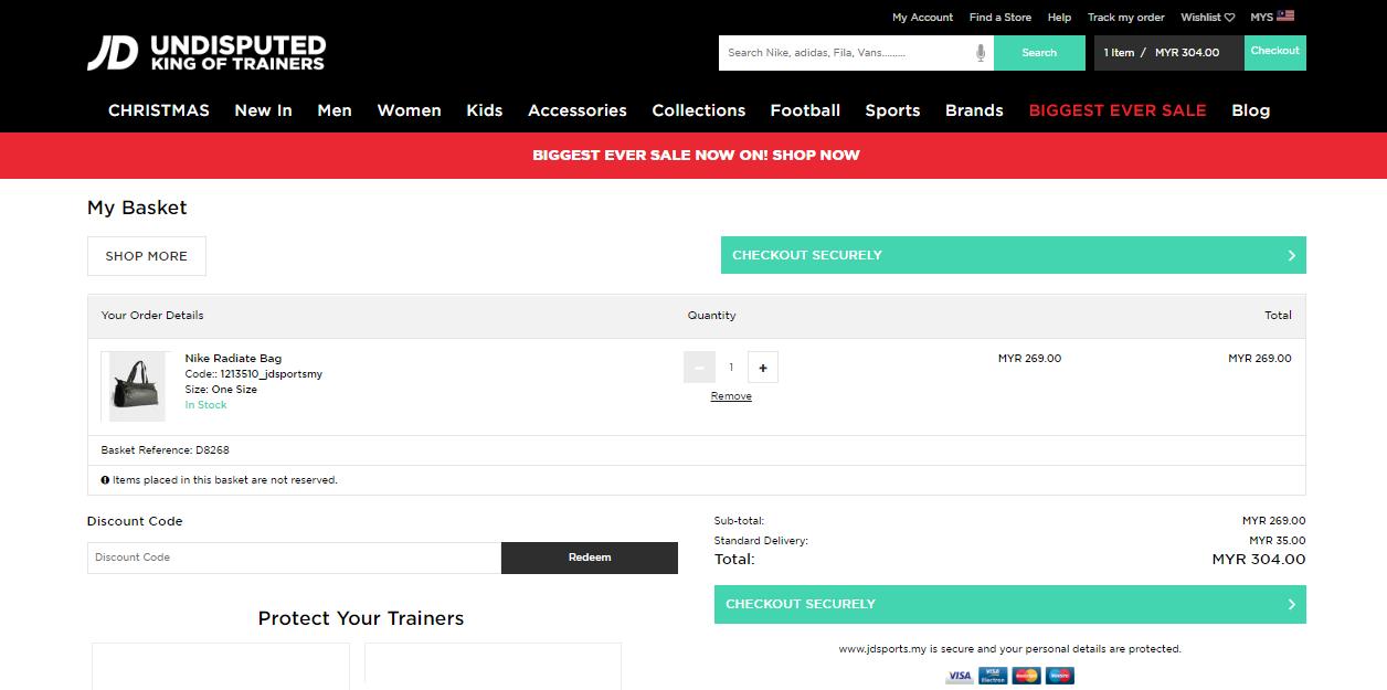 JD sports checkout page