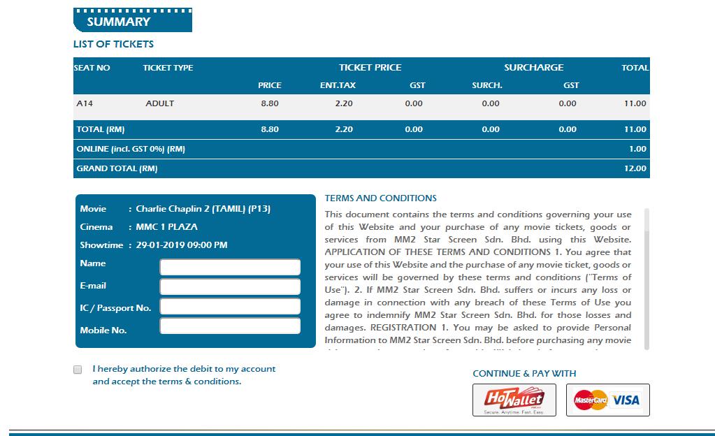 mmcineplexes booking summary