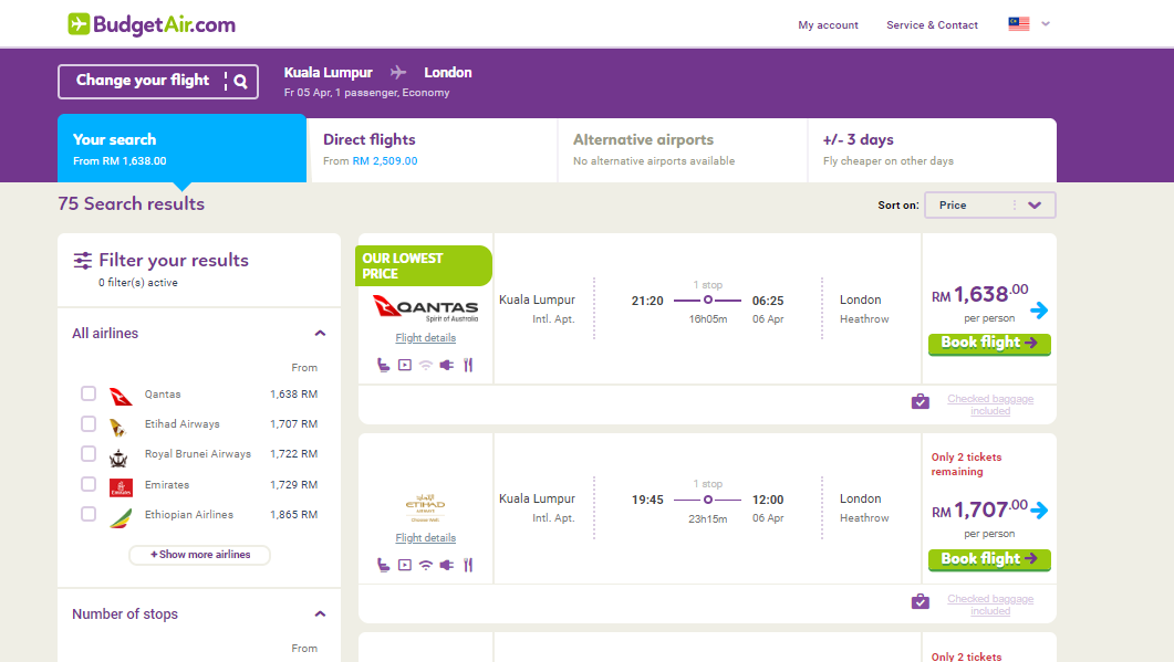 budgetair all available flights