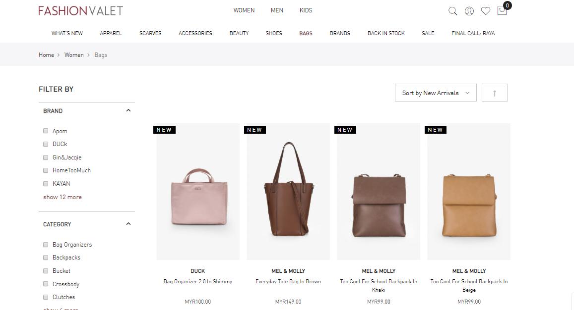 FashionValet filter search