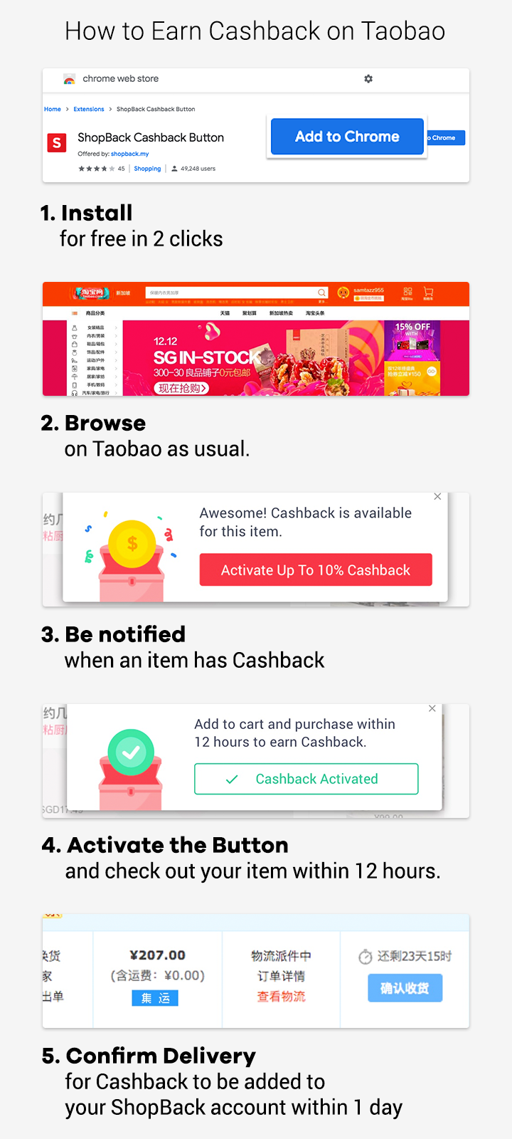 How to earn Cashback on Taobao