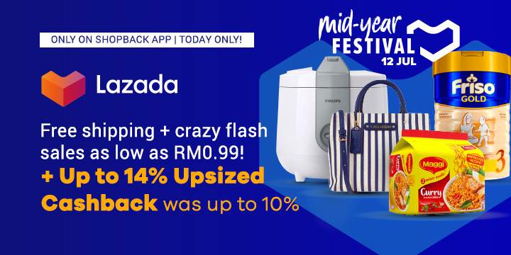 Lazada Mid Year Festival Up to 14% Upsized Cashback