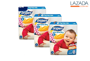 Drypers Wee Wee Dry L62 x 3 packs (186pcs)