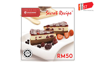 Secret Recipe RM50 E-Cash Voucher for Food, Desserts, and Drinks