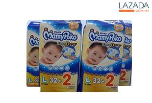 MAMY POKO Jumbo Open Diaper L 32+2s (4packs)