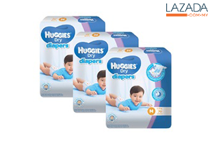 Huggies Dry Diapers M72 x 3 Super Jumbo pack