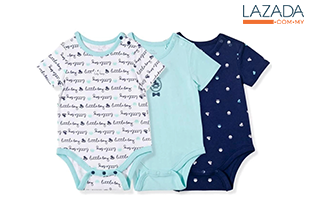 BABY PONEY 3-PIECE SET DADDY LITTLE'S BOY BODYSUIT (BLUE)