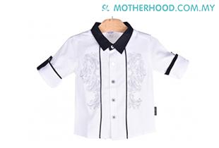 Baby Kiko Boy Long Sleeve Shirt (White)