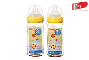 Pigeon Wide Neck PPSU Bottle 240ml / 8oz (Nipple Size M Y-Cut 3m+) -Twin Pack