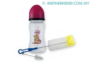 Fiffy Baby Wide Neck Feeding Bottle (9oz) With Multipurpose Sponge Tips Brush (Red)