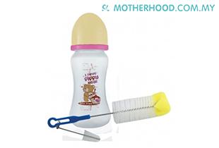 Fiffy Baby Wide Neck Feeding Bottle (9oz) With Multipurpose Sponge Tips Brush (Beige)