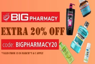 Lazada Special: Get an extra 20% off at Big Pharmacy with code. Valid till 26th Mar