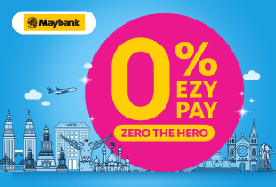 Traveloka Promo! Travel now, pay later. 0% interest Ezypay 6 or 12 months instalment plan for Maybank credit card users