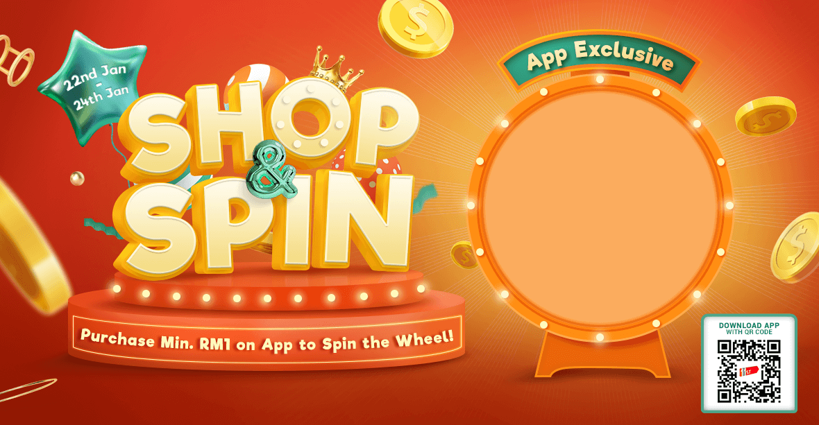 (ShopBack App only) App Exclusive: Shop & Spin to win up to RM 50 credit!