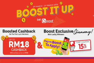 Qoo10 Deal: Use Boost to check out & enjoy up to RM18 Boost Cashback (first 2,400) + enjoy 15% cart coupon giveaway!